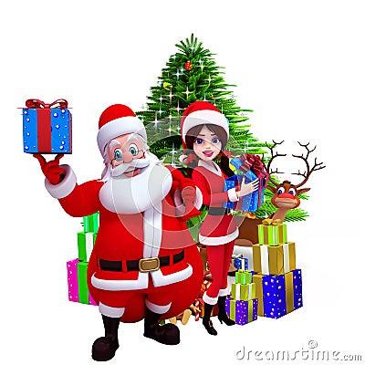 Santa showing a gift box before christmas tree