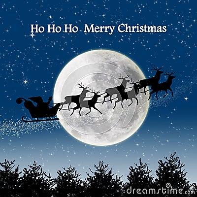 Santa silhouette night scene on full blue moon
