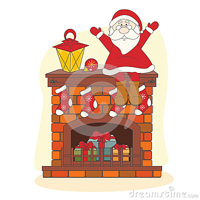 Santa sitting on chimney.