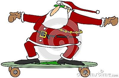 Santa on a skateboard