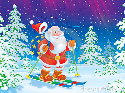 Santa skiing with a toy sack