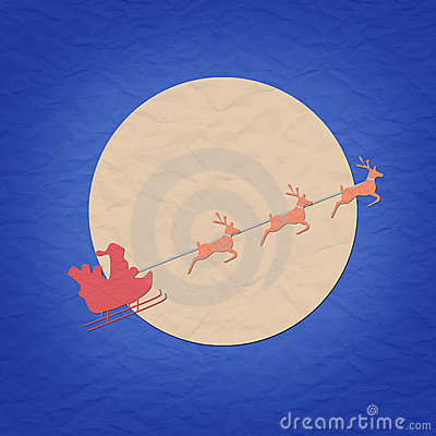 Santa on sledge with raindeer and moon papercraft