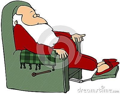 Santa Sleeping In A Chair