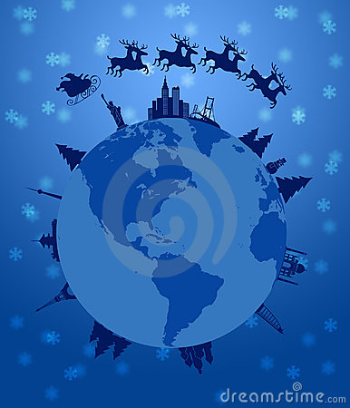 Free Santa Sleigh And Reindeer Flying Around The World Royalty Free Stock Photos - 21905138
