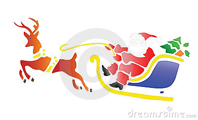 Santa in Sleigh with a Reindeer