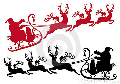 Santa with sleigh and reindeer,