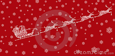 Santa on Sleigh with Reindeers and Snowflakes