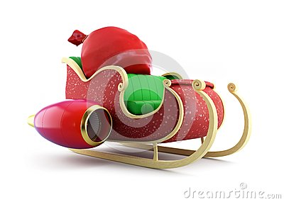 Santa sleigh and Santa s Sack with Gifts