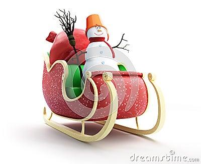 Santa sleigh and Santa s Sack with Gifts snowman