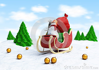 Santa sleigh and Santa s Sack with Gifts snowman