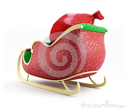 Santa sleigh and Santa s Sack with Gifts