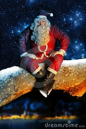 Santa and Snow at night