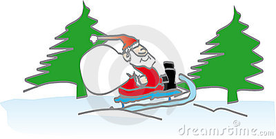 Santa on a snow sledge
