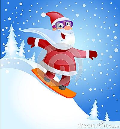 Santa on a snowboard