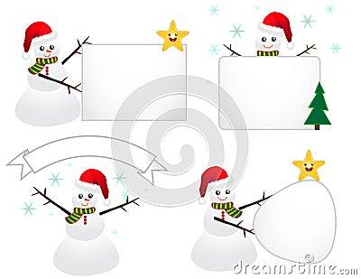 Santa Snowman with Sign
