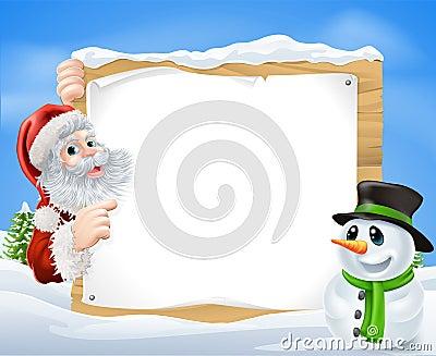 Santa Snowman Snow Scene