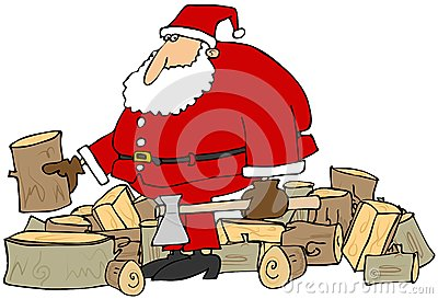 Santa splitting logs