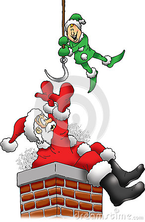 Santa Is Stuck In A Chimney Royalty Free Stock Photos