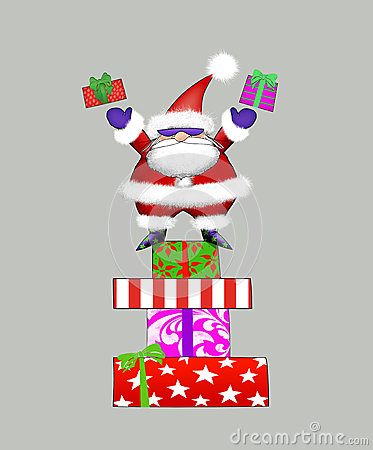 Santa in Sunglasses Tossing Gifts