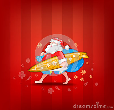 Santa with surfboard