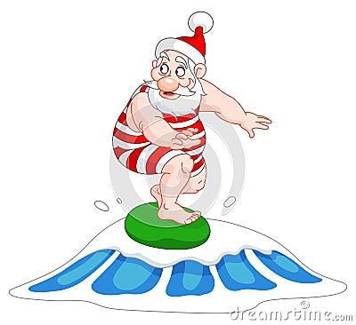 Santa surfing