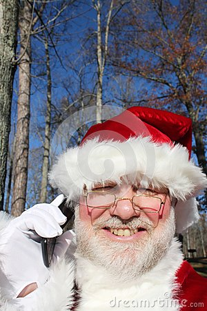 Santa Talking On His Cell Phone 2