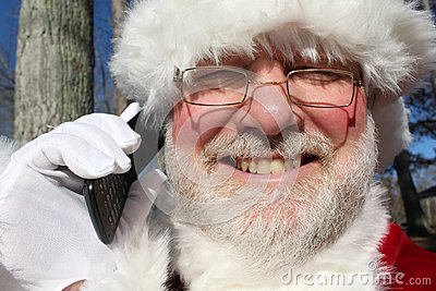 Santa Talking On His Cell Phone