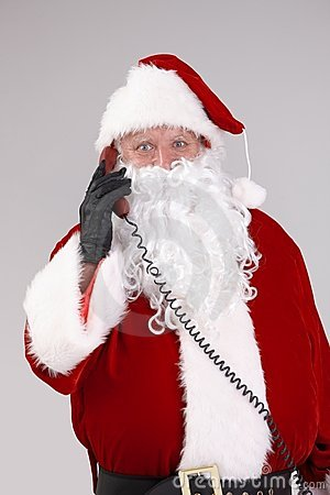 Santa talking on phone looking at camera