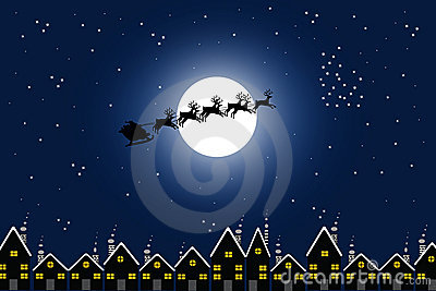 Santa and town