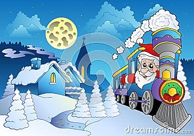 Santa on train near small village