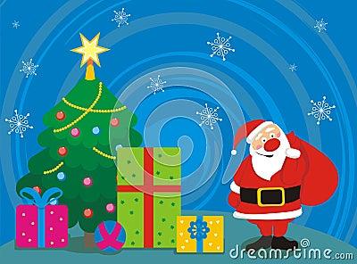 Santa, tree, gifts