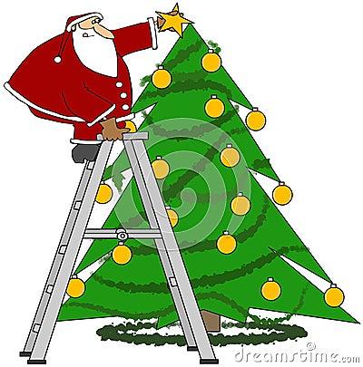 Santa trimming the tree
