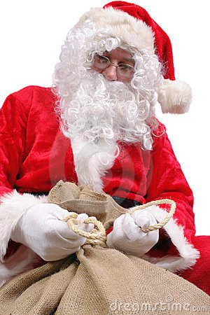 Santa tying up sack with presents