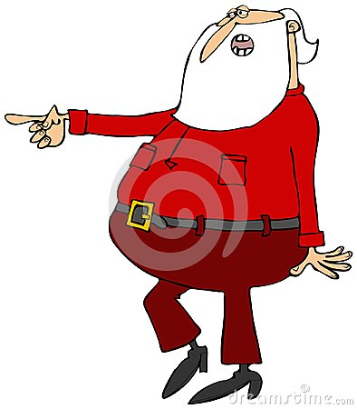 Santa walking and pointing