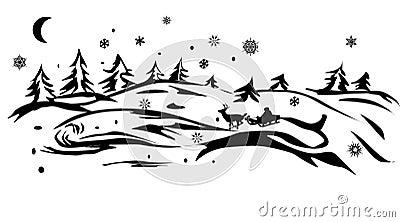 Santa in winter forest