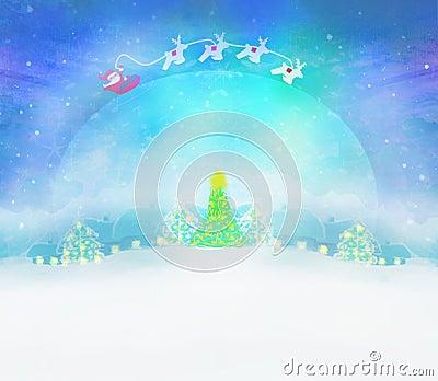 Santa and winter landscape