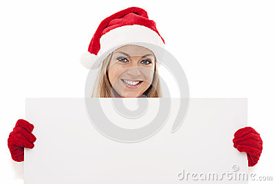 Santa woman with blank board