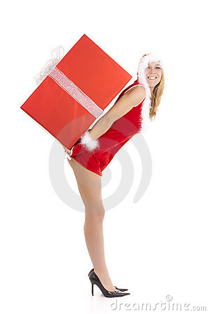 Santa woman carrying package
