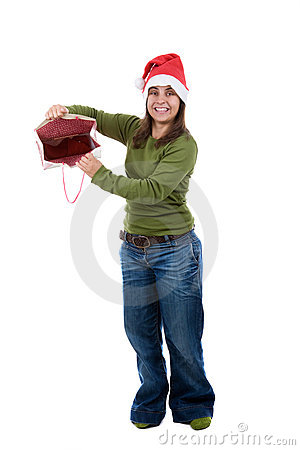 Santa woman celebrating christmas with present bag