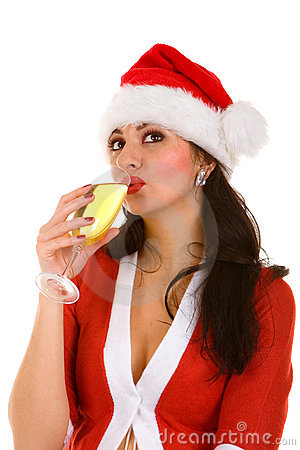 Santa woman with champaign
