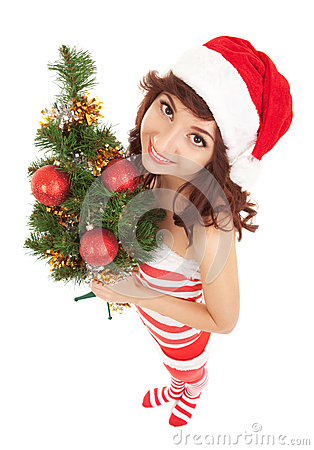 Santa woman with christmas tree