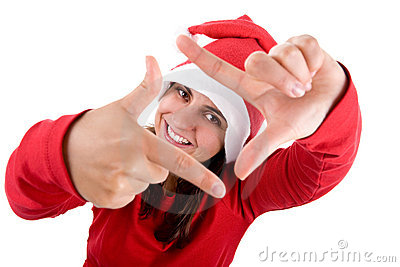 Santa woman doing a photo frame with her hands