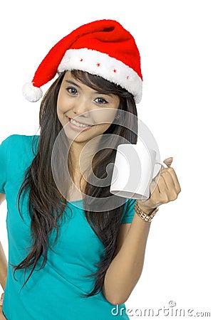 Santa Woman Drinking