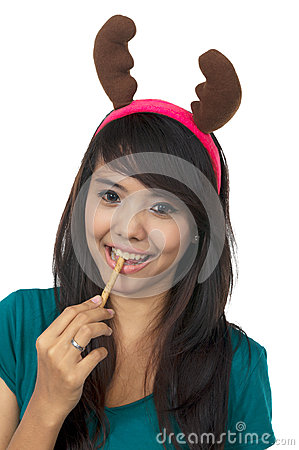 Santa Woman Eat Wafer