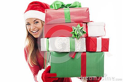Santa woman with gifts