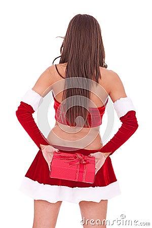 Santa woman hiding a little present box