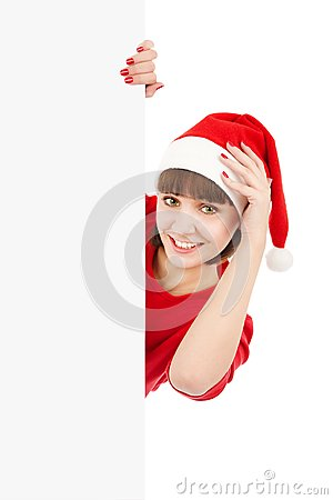Santa woman holding blank sign billboard