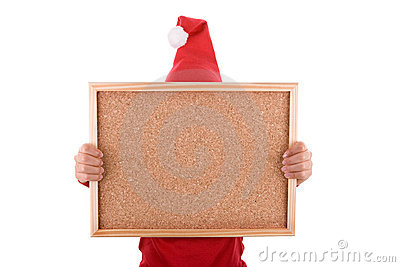 Santa woman holding frame with copyspace
