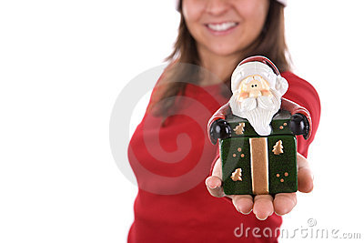 Santa woman holding small box in the hand