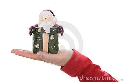 Santa woman holding small christmas present box